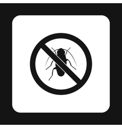 Prohibition sign bugs icon simple style vector