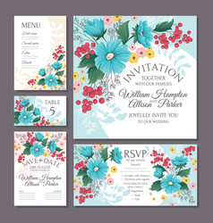 set of floral wedding cards vector image