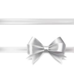 Silver ribbon bow vector