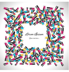 square frame of multicolored nail polish vector image vector image
