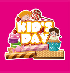 sticker design with kids and desserts vector image