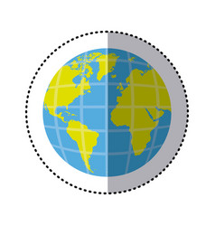 Sticker earth world map with continents in 3d vector