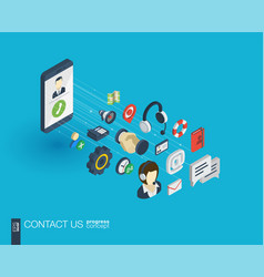 support integrated 3d web icons growth and vector image vector image