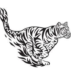 Tiger jumping tribal vector
