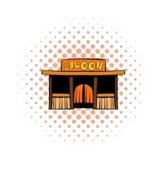 Western saloon icon comics style vector