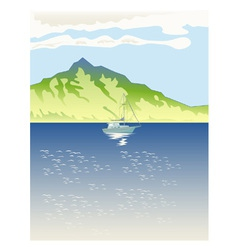 Sailboat mountains retro vector