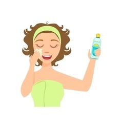 Girl applying sun protecting facial lotion woman vector