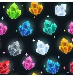 Magic seamless pattern with colorful crystals vector
