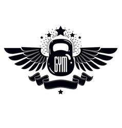 bodybuilding weightlifting gym logotype sport vector image