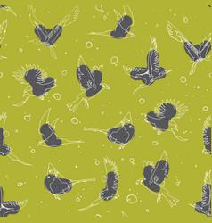Hand drawn artistic single line birds seamless vector