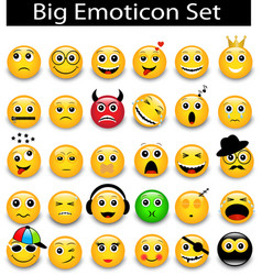 Large set a round yellow emoticons vector