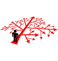 Person go on complicated decision path vector image