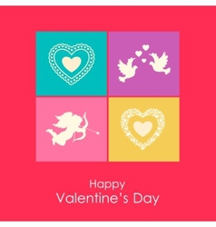 Happy valentines day card with angel doves and vector