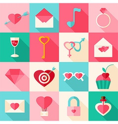 Valentine day flat icons with long shadow vector image