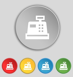 Cash register icon sign symbol on five flat vector