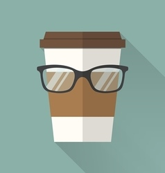Coffee cup icon with glasses vector