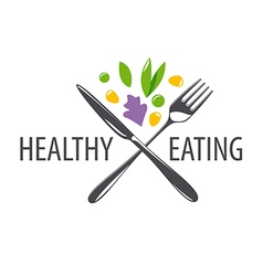 Logo fork knife and vegetables vector