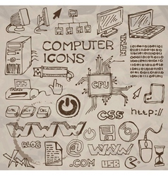 Hand- drawn computer icons  vector