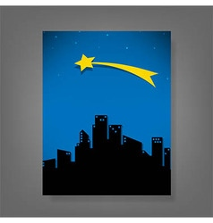 Report comet and stars for the city vector