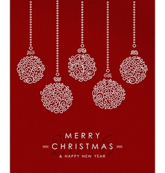 Merry christmas happy new year outline bauble deco vector