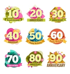 Flat anniversary emblems set vector