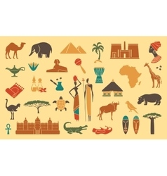 Traditional symbols of africa vector