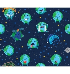 Seamless pattern of cute cartoon globes with vector