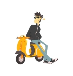 Guy in leather jacket leaning on scooter vector