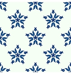 Seamless blue star winter pattern vector image
