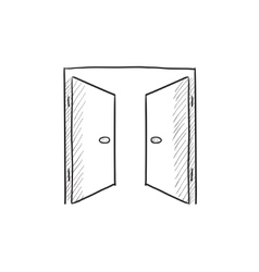 Open doors sketch icon vector