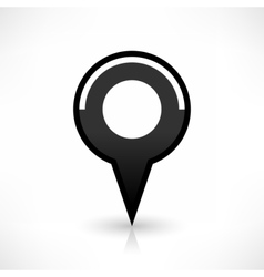 Black map pin icon flat round location sign vector