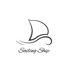 black sailing ship logo vector image