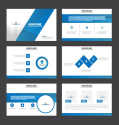 Blue presentation templates infographic element vector