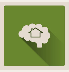 brain thinking in a house on green background vector image