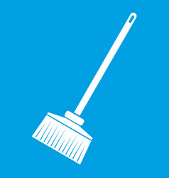 Broom icon white vector