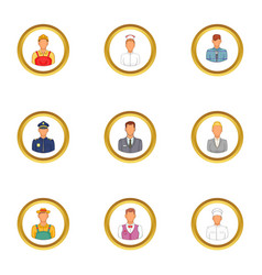 Business people icons set cartoon style vector