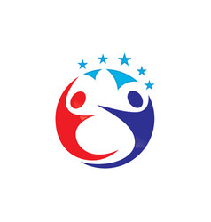 circle human with star logo design vector image