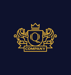Coat of arms letter q company vector
