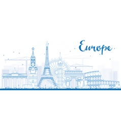 Famous landmarks in Europe Outline vector image vector image