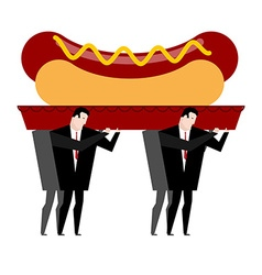 Funeral hot dog fast food is carried in coffin vector