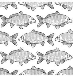 Graphic carp pattern vector
