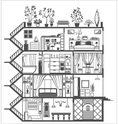 house interior silhouette vector image