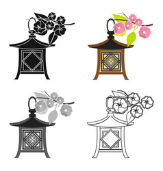 japanese lantern icon in cartoon style isolated on vector image