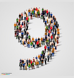 Large group of people in number 9 nine form vector