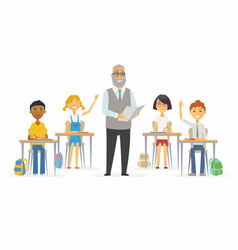 lesson at school - cartoon people characters vector image vector image