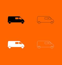 Minibus black and white set icon vector