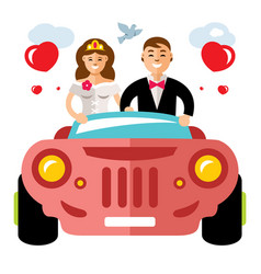 newlyweds in a limousine flat style vector image vector image