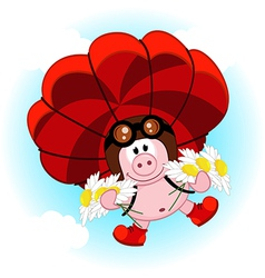 pig on a parachute with daisies vector image