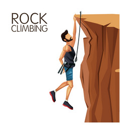 scene man hanging on the cliff rock climbing vector image vector image