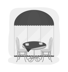 Served table near cafe icon in monochrome style vector